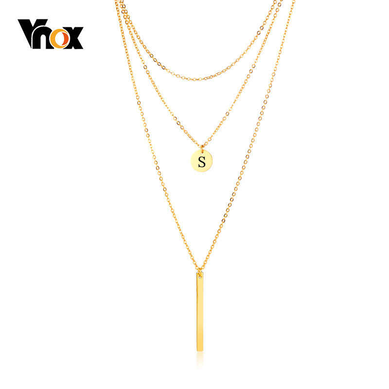 Vnox Free Engrave Layered Coin Necklace for Women Alphabet Gold Color Stainless Steel Personalize Letter Pendant Party Gifts