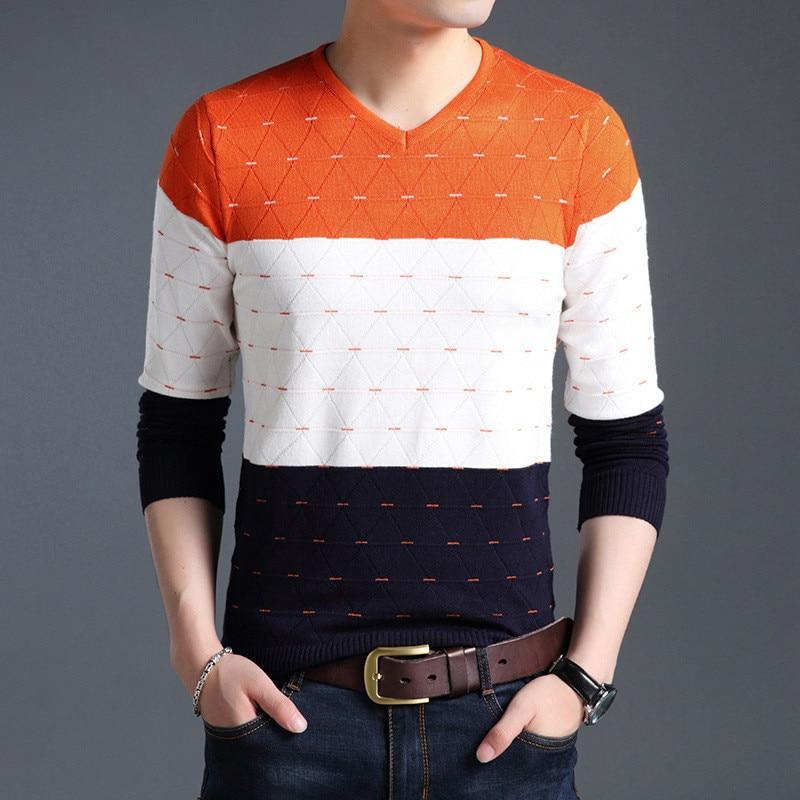2018 Marke Social Baumwolle Dünne Männer Pullover Pullover Casual Gehäkelte Gestreifte Gestrickte Pullover Männer Masculino Jersey Kleidung. Rheuma Lindern
