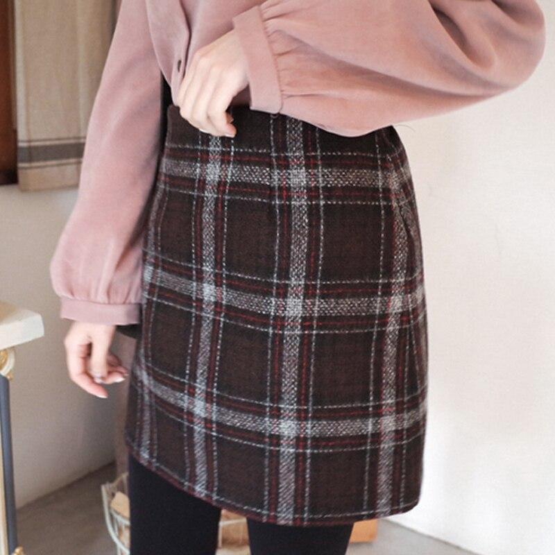 2019 temps limité Lolita jupes femmes jupe au-dessus du genou Mini longueur laine Plaid a-ligne Empire taille décontracté