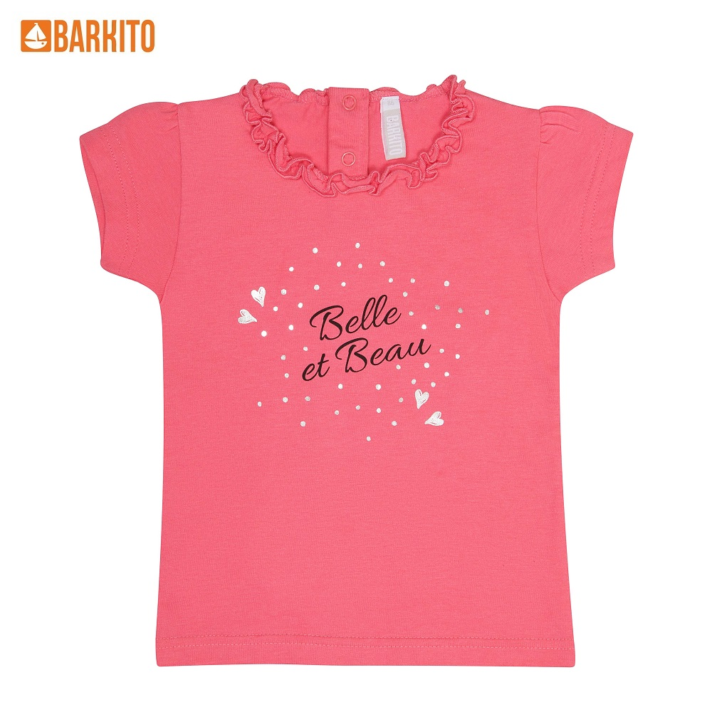 T-Shirts Barkito 339028 children clothing Cotton 32A-30321KOR Pink Girls Casual t shirts barkito 339006 children clothing cotton 32a 30475kor yellow boys casual