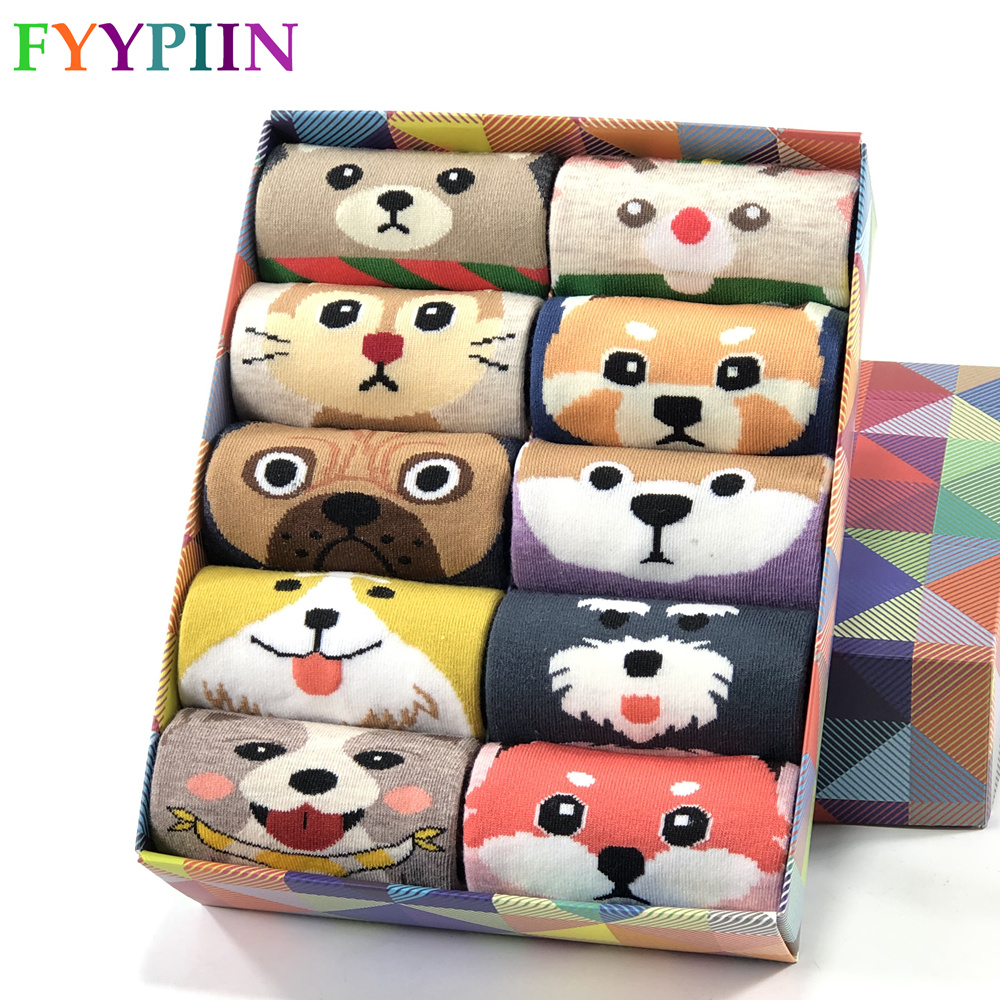 Women Socks Hot Sale  2020 New Socks  Ladies Cartoon Pug Cute Pattern Cotton  Gift Funny Socks Women