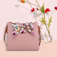 Women Bowknot Cute Bags Bucket Leather Shoulder Sling Bags For Girls Scarf Drawstring Handbags Fashion Ladies Crossbody Bow Bags