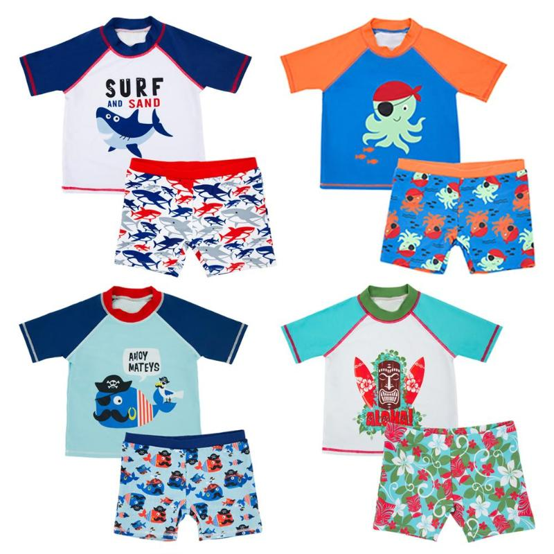 Home Impartial 2pcs/set Children Swimming Wear Boys Beach Split Swimming Suits Clothes Set Cartoon Animal Print Swimsuit Quick-dry Tops Shorts Less Expensive