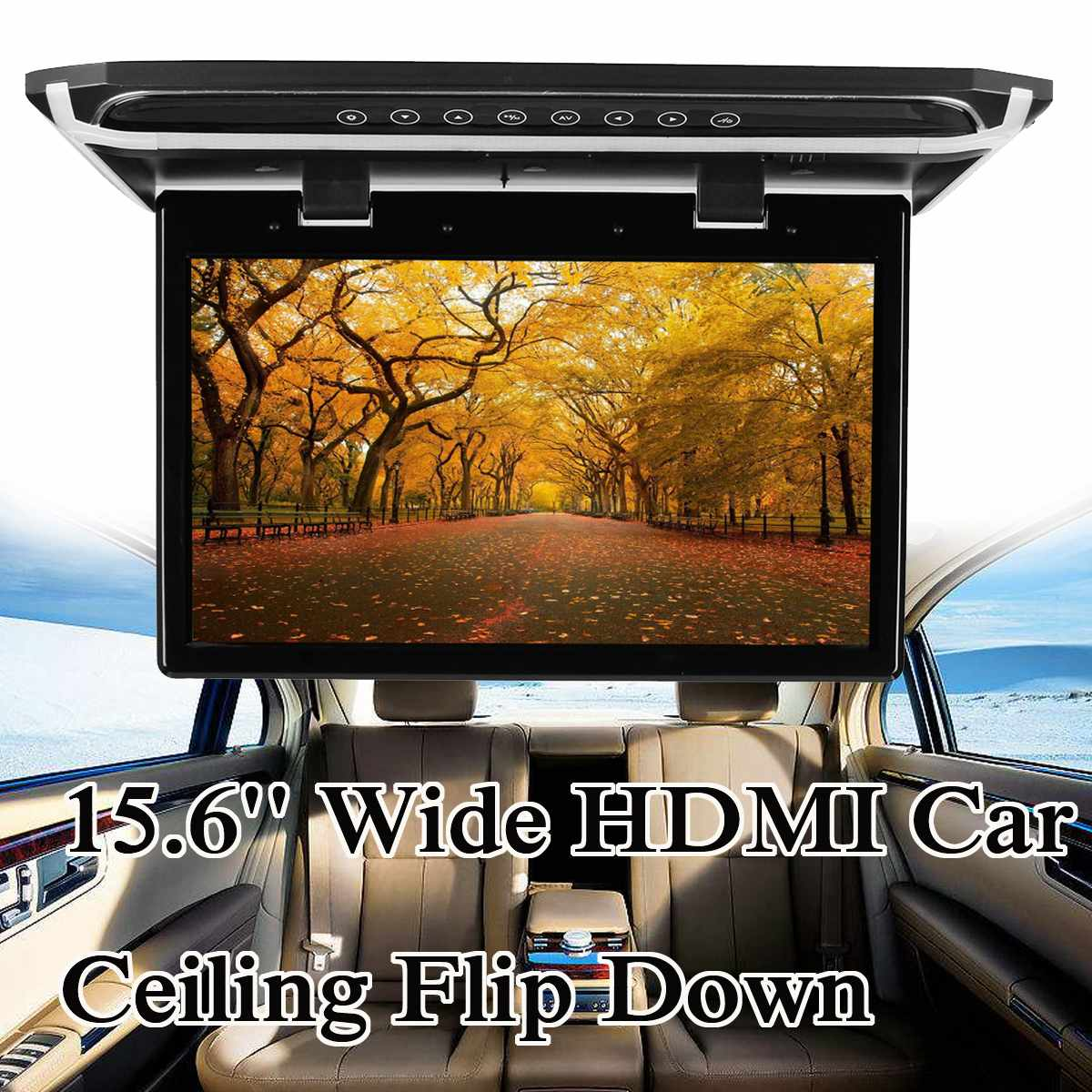 15.6 HD lecteur DVD de voiture grand écran HDMI plafond de voiture rabattable moniteur lecteur de montage sur le toit 1920*1080 - 5
