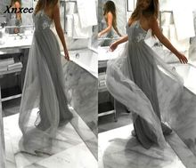 Xnxee Sexy Grey Lace Maxi Dress Sleeveless Deep V Neck Sequined Patchwork Dresses Women 2018 Summer Backless Long Party