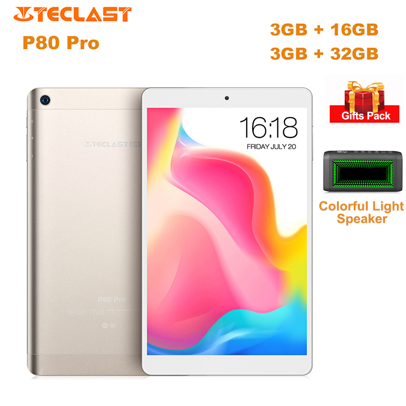 D'origine Teclast P80 Pro Tablet PC 8.0 ''Android 7.0 MTK8163 Quad Core 1.3 GHz 16 GB/32 GB ROM Double Arbre à Cames Double WiFi HDMI Comprimés PC