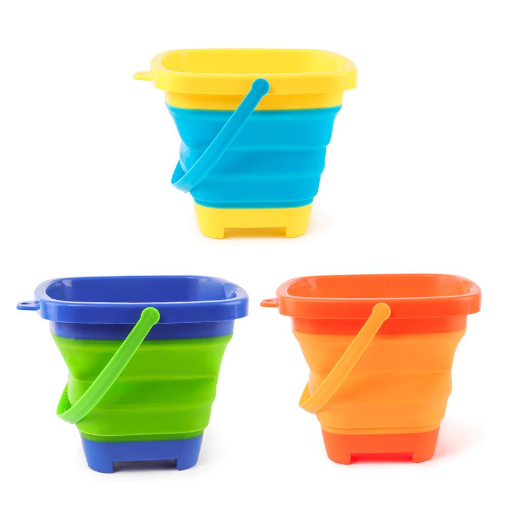 3 Colors Baby Kids Shower Bath Toy Beach Bucket Silicone Folding Hand-held Barrel Toy For Camping Fishing Home Storage