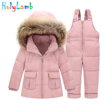 Warm Kids Snowsuit Duck Down Jacket Coat + Overalls Winter Suits For Baby Girl Clothes Children's Down Jacket Faux Fur Coat free shipping girl springtime down jacket kid coat girl autumn jacket duck down parkas patchwork pattern printed fasion coat