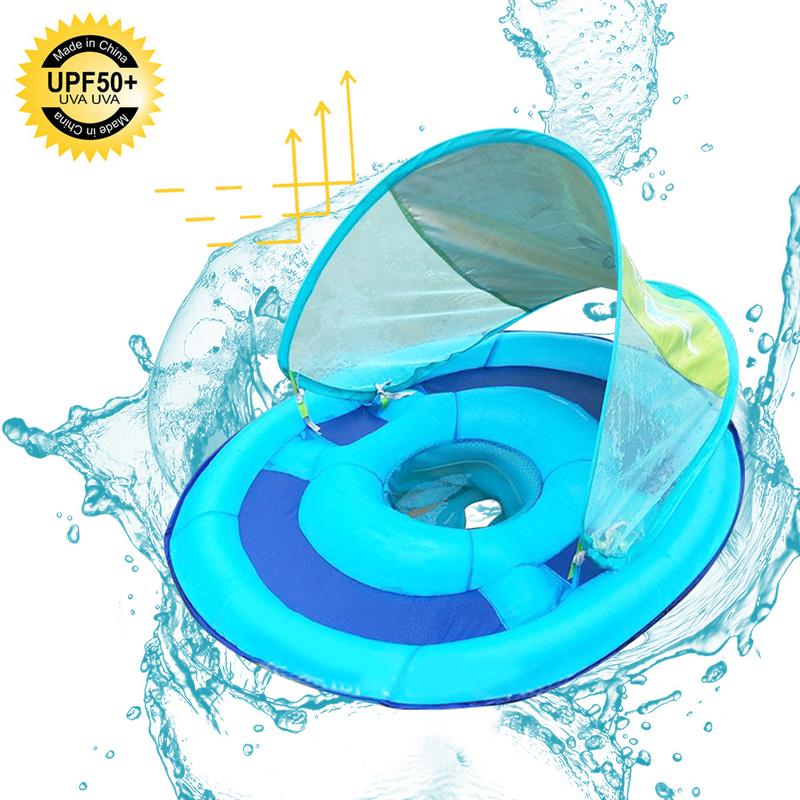 Inflatable Baby Swimming Seat With Awning Children's Swimming Ring Mesh With Bottom Pocket Hot Summer Outdoor Play Water Toys