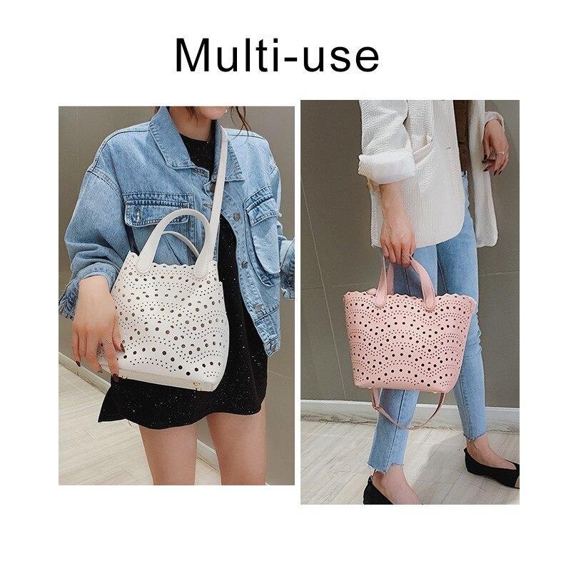 2Pcs/Set Women Large Bucket Handbags Dot Hollow Leather Shoulder Bag For Travel Casual Crossbody Bags Composite Bag