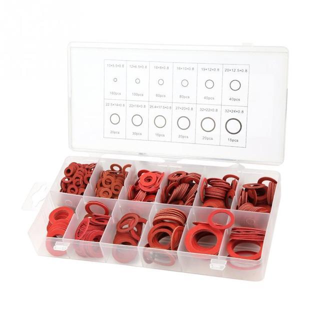600 шт 12 размеров красный стальной Бумажное Волокно плоские шайбы комплект изоляционная шайба Ассорти набор с коробкой скидка