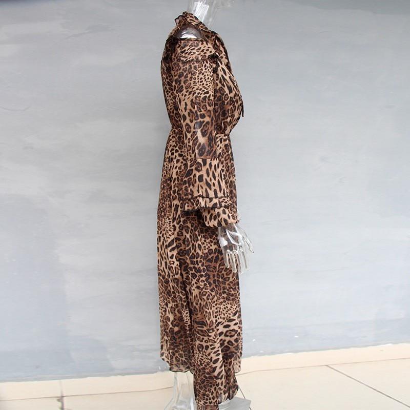 Primavera Leopard Delle Chicever Le Maniche Di Pizzo Femminile Dress Leopardo A Asimmetrico Moda Caviglia Lunghe Per Stampa Vestiti Dalla Della Nuovo Up Donne Lunghezza Vestito Del In H4HwrBq