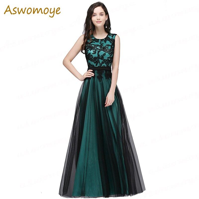2019 Long   Evening     Dress   Appliques a Line Prom Party   Dress   Sleeveless O-neck Side Hidden Zipper Formal   Dresses   Robe De Soiree