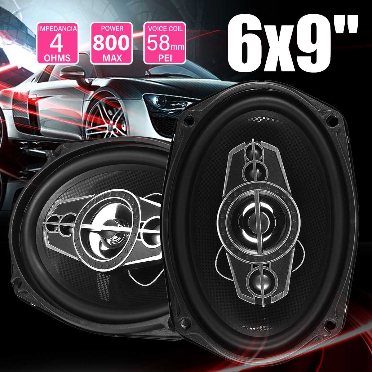2pcs 800W 6x9 inch Car Speaker and Subwoofer HIFI Coaxial Speaker Car Bass Tweeter Audio Loudspeaker Stereo for Universal Cars
