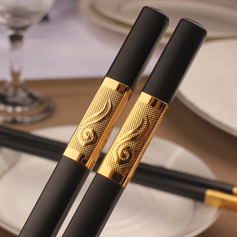 10Pairs Square <font><b>Chopstick</b></font> Resuable China Chop Sticks Black Gold Silver Chinese <font><b>Chopsticks</b></font> Household Dinnerware Cutlery Tableware image