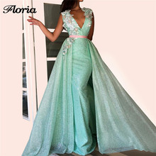 Arabic Shiny Formal Evening Dresses Muslim Turkish Mint Green Long Party  Gowns Abendkleider V Neck Prom 5654d8abdd17