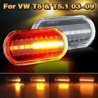 Pair Clear Flowing LED Side Marker signal Light For VW T5 T5.1/Bora/Golf 3 4/Lupo/Passat 3B 3BG/Polo 6N 6N2 9N/Sharan/Vento