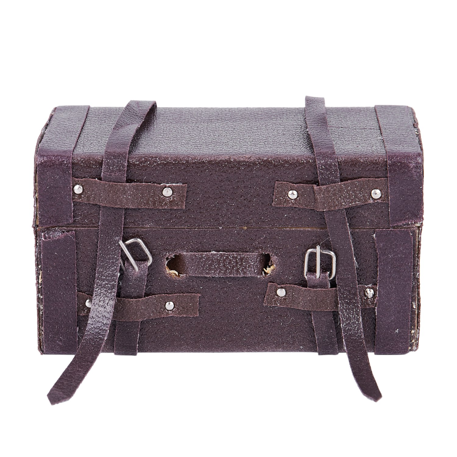 1:12 Doll House Miniature Vintage Leather Wood Suitcase Mini Luggage Box