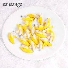 10 Piece Yellow Enamel Alloy Banana Charms Pendant For Handm