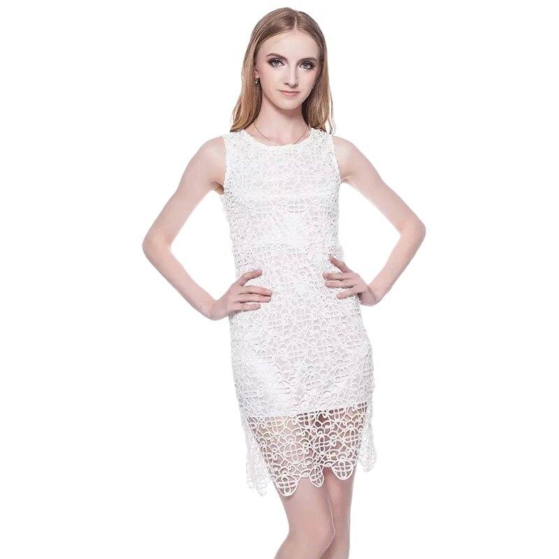 Винтаж открытое кружевное платье Для женщин элегантные без рукавов многослойное белое платье Лето шикарные вечерние пикантное платье vestidos...
