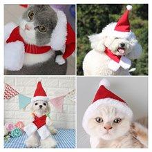 Christmas Dog Cat Pet Costume Hats Cape Scarf Suit Hot Winter Hat for Dog Pet Santa Costume Santa Hat Cute Red Christmas Hat juqi christmas coat hat for pet dog red white black size l