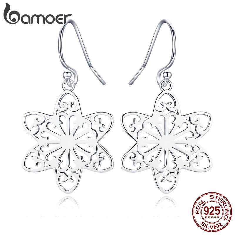 BAMOER New Collection Genuine 925 Sterling Silver Trendy Snowflakes Drop Earrings For Women Sterling Silver Jewelry SCE507
