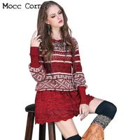 Autumn Winter Mini Wool Sweater Dress Red Womens Vintage O neck Long Lantern Sleeve Crochet Hollow Out Patchwork Striped Dresses