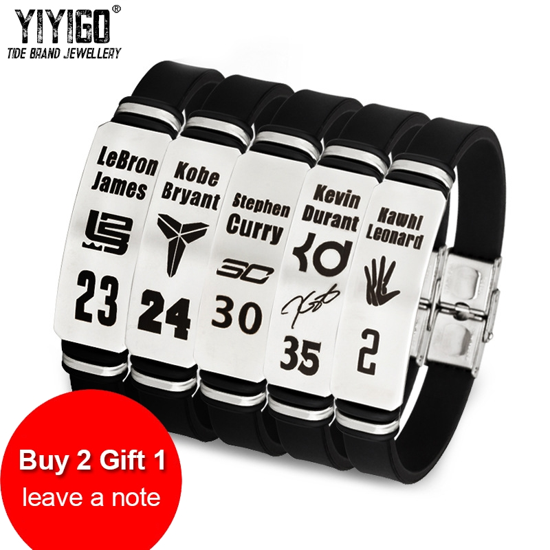 innovative design 3673b bd9c7 US $2.28 48% OFF|/Buy 2 Get 1 Free/ 1Pieces Silicone Stainless Steel Men  Bracelets Kobe James Curry Irving Student Adjustable Sports Wristband-in ...
