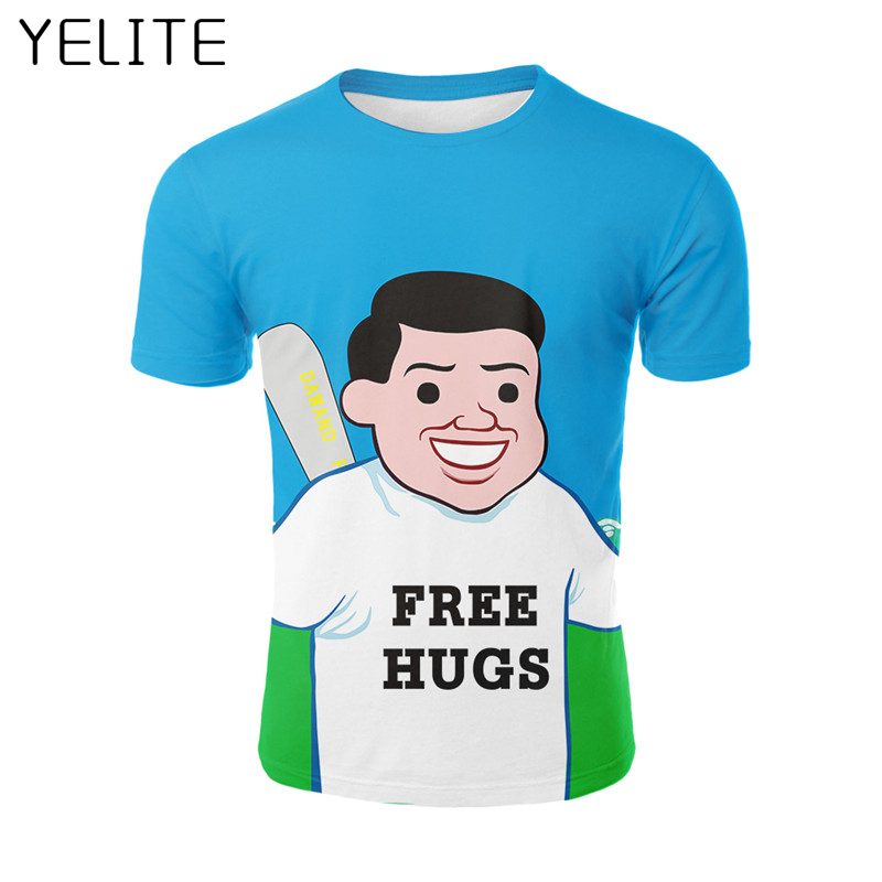 YELITE Fashion 2019 Newest Cool T-Shirt Men 3d Tshirt Print Little Man Holding A Baseball Bat Short Sleeve Blue Tops Tshirt