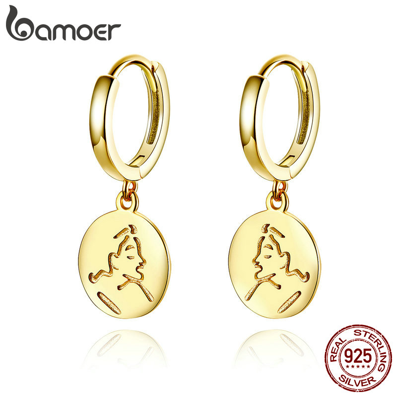 BAMOER Drop Earrings for Women 925 Sterling Silver Gold