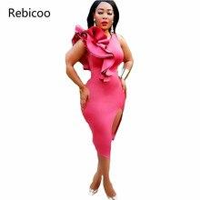 470b3b7e2 Hot Pink Ruffles Voltar Zipper Detalhes Do Lado Direito Vestido Bodycon Mulher  Sexy Noite Desgaste Do Clube Fenda de Alta Pernas.