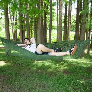 Image 5 - Hamaca de viaje para acampar portátil, doble/individual, resistente, cama colgante de tela de paracaídas con mosquitera