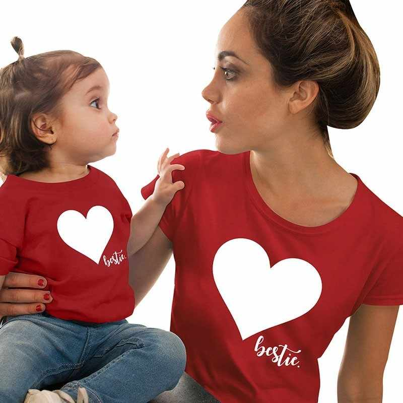 90f989781a Mommy Mini Me Tee Cotton Family Matching Outfits Mother And Daughter Heart  Printed T-shirts