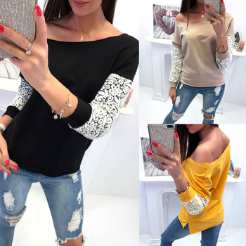 Lace Long Sleeve Women Blouse Off Shoulder Tops Shirt Loose casual Jumper Pullover Spring Autumn Wear