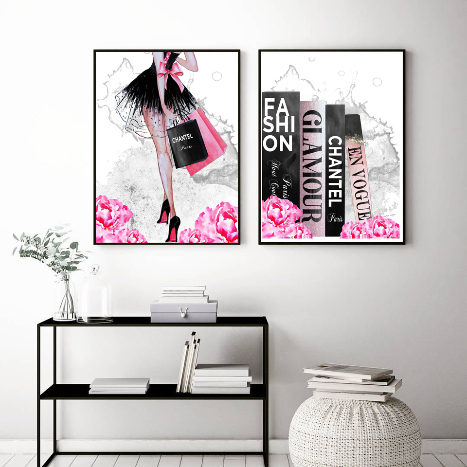 Book Perfume Flower Paris Brand Nordic Posters And Prints Wall Art Girl Canvas Painting Decoration Picture For Living Room Decor