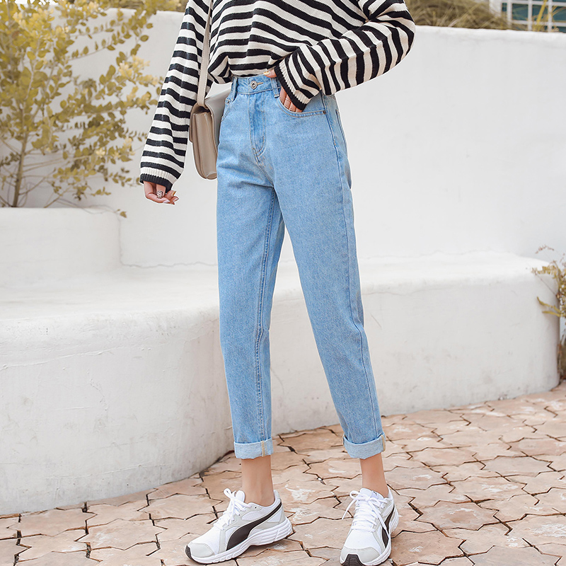 New Women 2019 Brand   Jeans   Black White Blue Harem Pants Washed Denim Ankle-Length Pants Female Spring Summer Loose Casual   Jeans