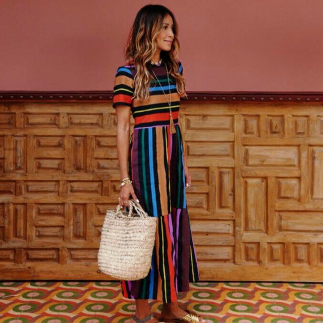 Striped Print Dresses Hot Fashio summer clothes for women Boho Short Sleeve Long Maxi Dress Beach Sundress vestidos