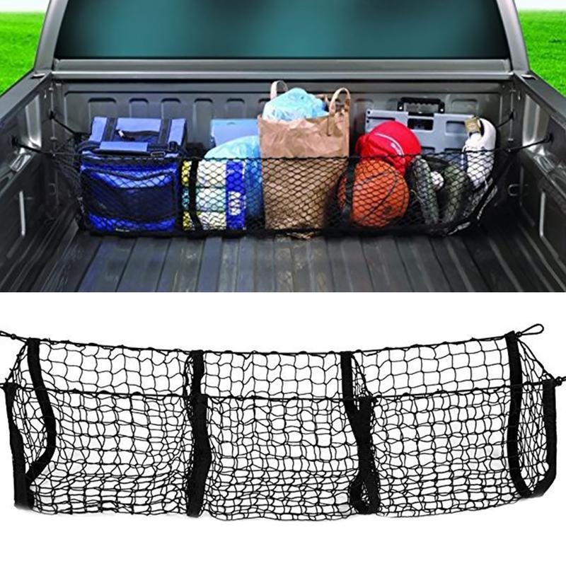 3 Pocket Storage Net Car Organizer Pickup Truck Bed SUV Rear Cargo Space Grocery