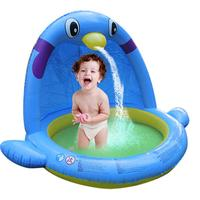 Children's Water Spray Game Mat Indoor Swimming Pool Thickened Penguin Shape Inflatable Paddling Pool Parent child Interaction