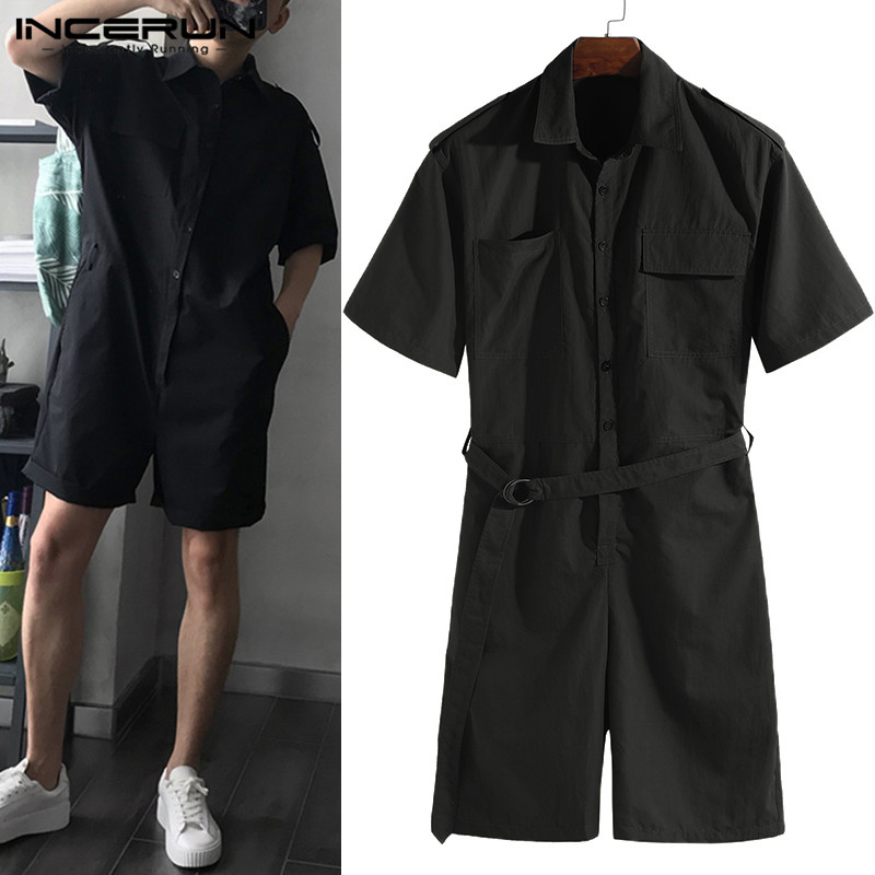INCERUN Fashion Mens Jumpsuit Rompers Pockets Half Sleeve Belt Pants Harajuku Playsuit Men Cargo Overalls Streetwear 2020 S-5XL