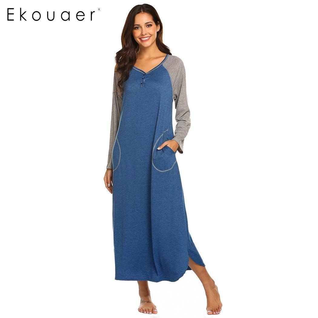 Ekouaer   Sleepshirt     Nightgowns   Women Long Sleeve Spring Autumn Sleep Dress Loose Calf Length Pullover V-Neck Nightdress Nightwear