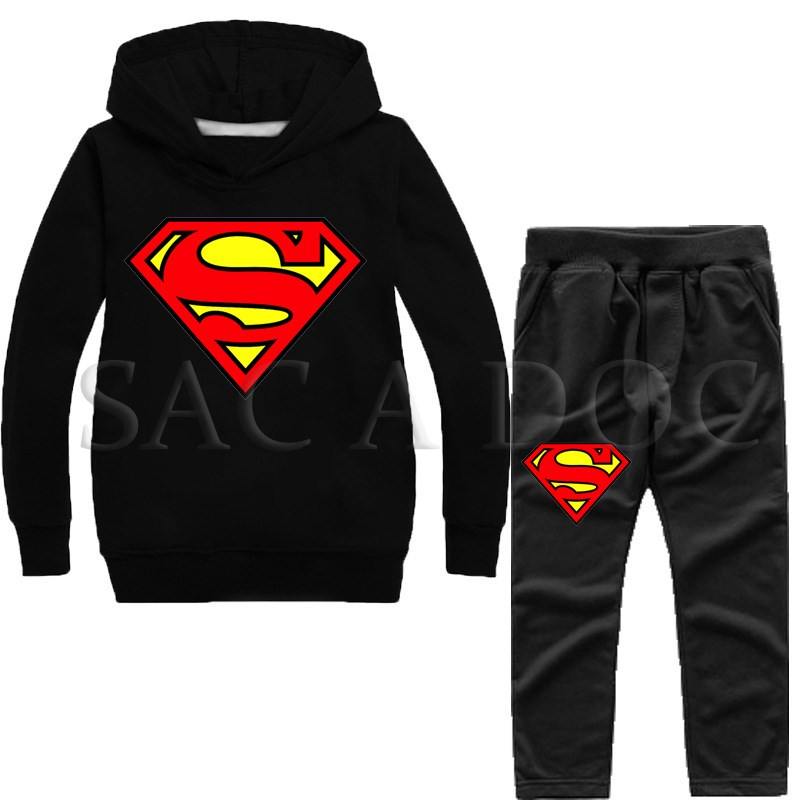 Diligent Superman Tracksuit Autumn Winter Kids Boys Girls 2pcs Set Pullover Hooded Sweatshirts Pants Superhero Sportswear Hoodies A Great Variety Of Goods Men's Clothing