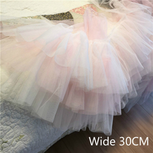30CM Wide Pink White Gradient Color Three-layer Mesh Tulle Lace Flowers Ribbon Wedding Dress Applique Sewing Skirt Fabric