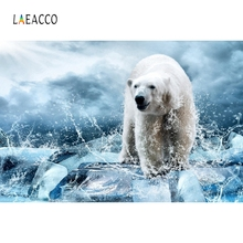 Laeacco Polar Beer Arctic Snow Backdrop Photography Backgrounds Customized Photographic Backdrops For Photo Studio