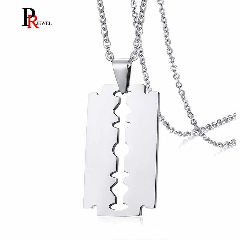 58d5de50c2 Stylish Double Edge Razor Blades Pendant for Men Necklace Stainless Steel  Casual Male collar Gifts With 20