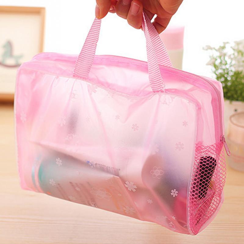 Fashion Sundries Towel Cosmetics Organizer Storage Bag Women Waterproof Transparent Floral Print Make Up Bag For Travel Swimming