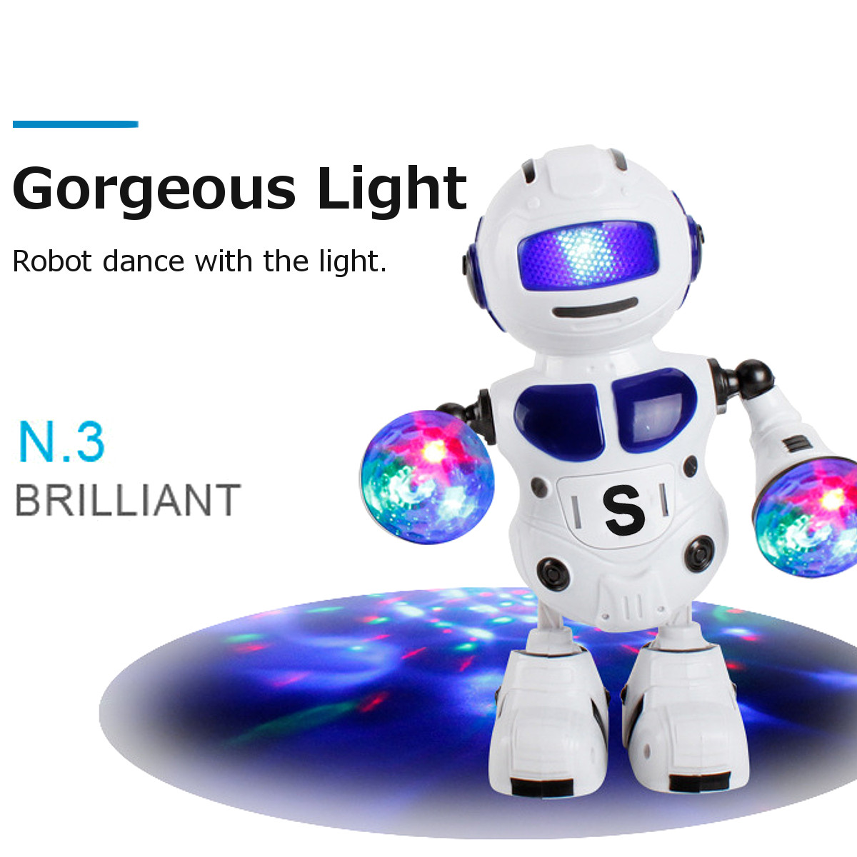 Kids Electronic Smart Space Dancing Robot With Music Flashing LED Light Walking Toys Christmas New Year Gift For Child