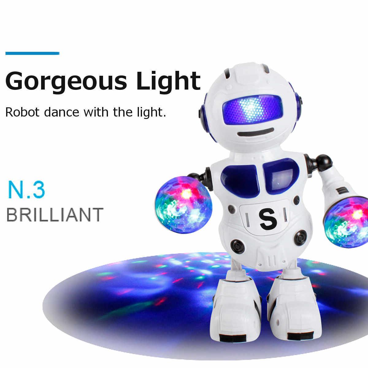 เด็กอิเล็กทรอนิกส์สมาร์ทเต้นรำหุ่นยนต์เพลงกระพริบ LED Light ของเล่นเดินคริสต์มาสปีใหม่ของขวัญเด็ก