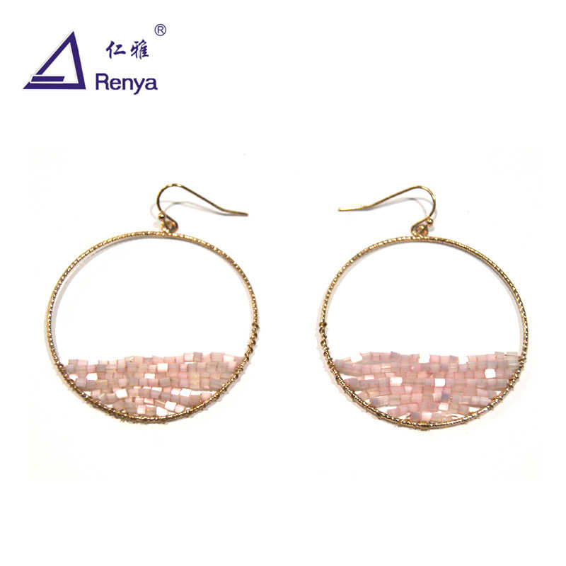 Renya Big Hoop Earrings Handmade Wrapped Pink Beaded Earrings For Women Thin Wire Pink Earring Fashion Jewelry For Party Gift
