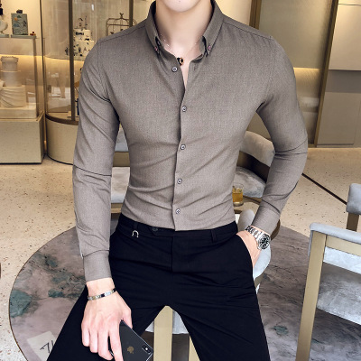 2018 Autumn Exquisite Solid Color Shirt British Ya Gentleman Wind Youth Long-sleeved Business Anti-wrinkle Men's Slim Shirt